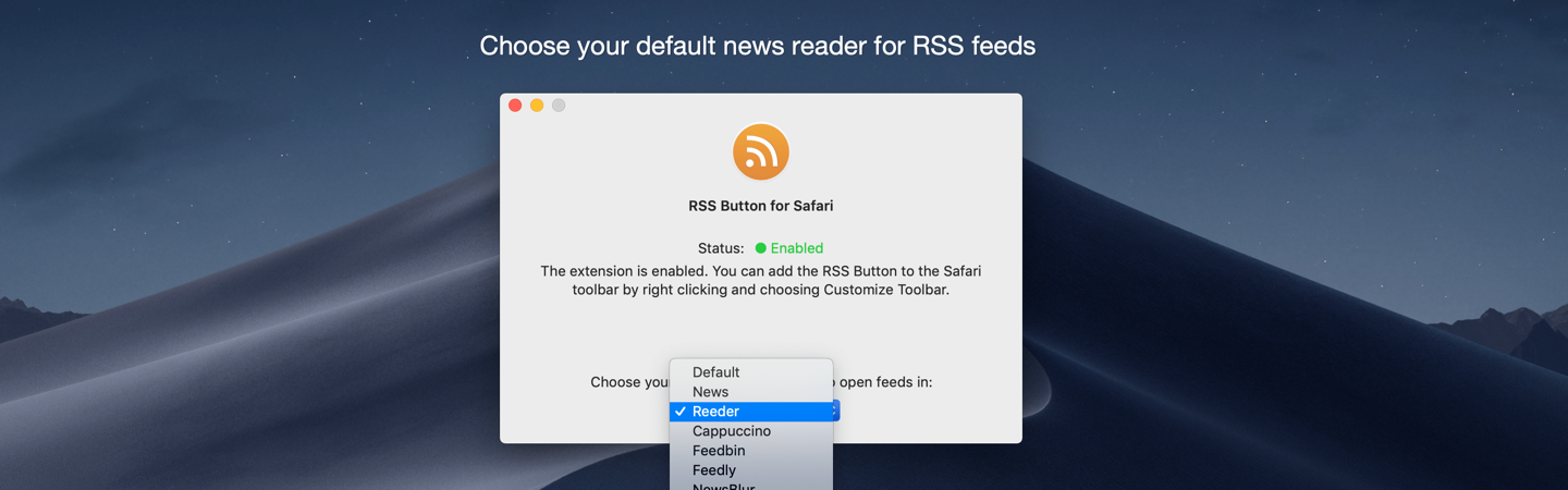 Choose your default news reader for RSS feeds