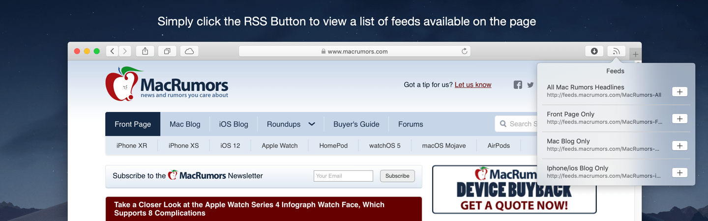 Simply click the RSS Button to view a list of feeds available on the page